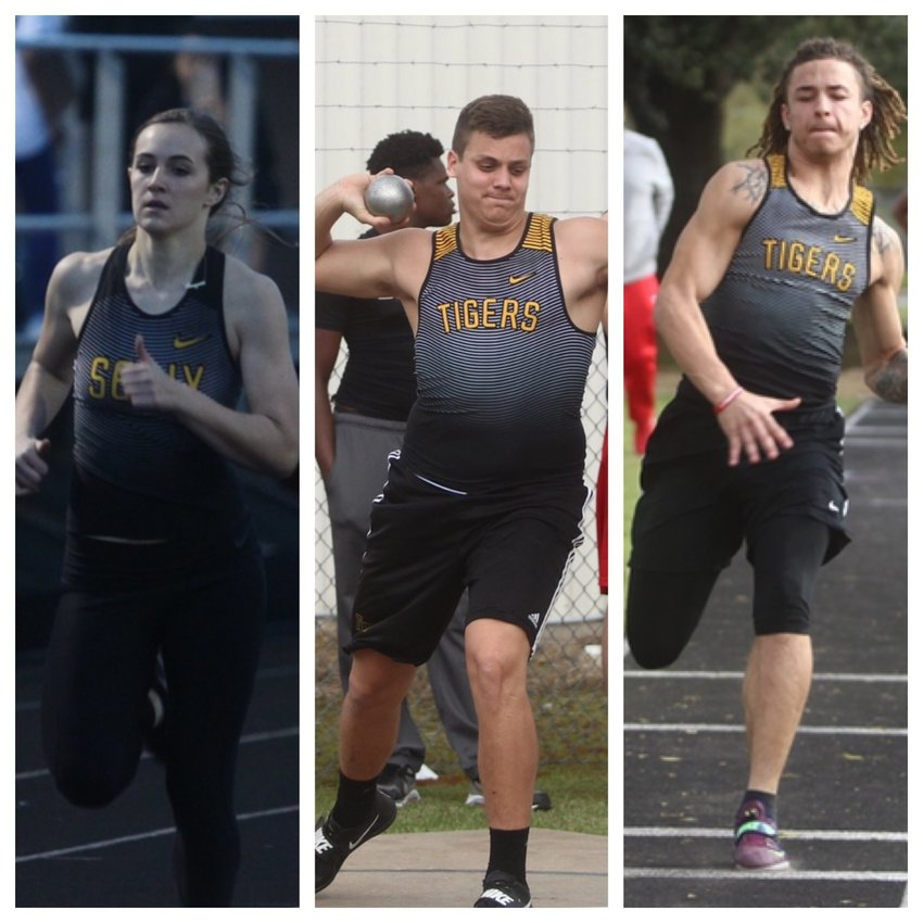 A trio of Tigers made the trip to compete against the best in the state in their respective events; Raegan Newsome (left) ran the 100-meter hurdles, Luke Thielemann (center) tossed the discus, while Ivan Bolden (right) was busy in the jumping pit for both long and triple jump events.