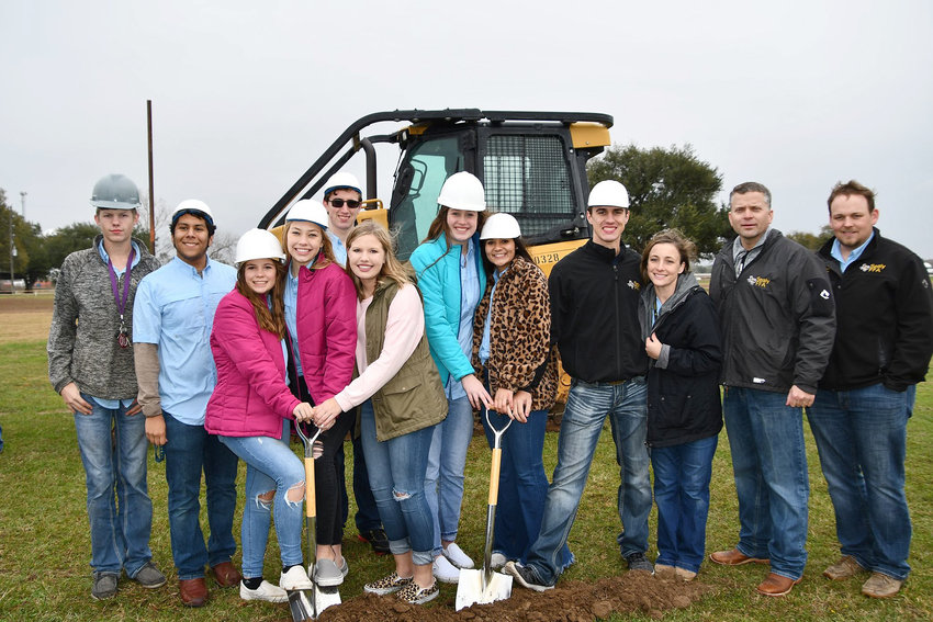 After years of discussion, an agriculture barn is finally coming to town. Sealy ISD held a groundbreaking ceremony on Dec. 16 at the location of the new agriculture barn to be built near the current Career and Technical Education facility. At a special meeting of the Sealy ISD Board of Trustees on Dec. 9, the final bid from MBCI Management was accepted and now the first steps have been taken toward constructing a barn that will benefit the CTE department as well as the community.