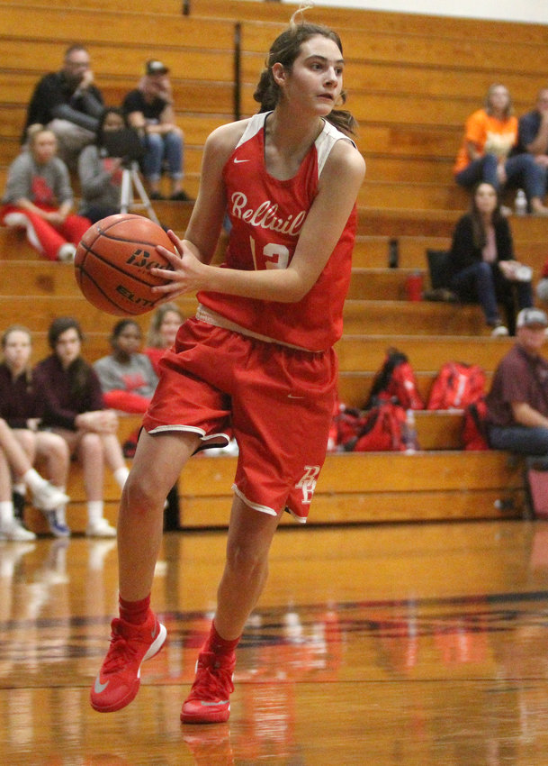 Taytum Poppe twice led her team in points throughout the Weimar Christmas Tournament to help secure a second-place finish for the Brahmanettes, also earning all-tournament team honors in Bellville's last action of 2019. Pictured is the senior looking for a teammate to pass to in a non-district game against the Sealy Lady Tigers at Sealy Junior High School on Nov. 26.