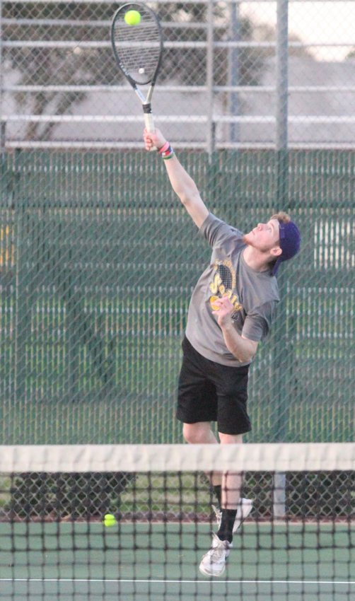 Senior Austin Keeton returns to the tennis courts for the Tigers this spring and will be paired with Brendon Beckendorff for boys' doubles competition again. He, along with his teammates, opened practice at the beginning of last week and will begin competition soon.