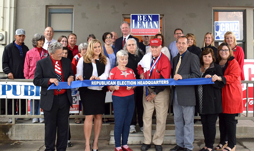 Austin County Republican Party will open its 2020 campaign headquarters at 4 W. Main St. in Bellville on Friday, Jan. 24, with an open house from 11:45 a.m. to 2:30 p.m. A ribbon cutting by Bellville and Sealy chambers of commerce will occur at 12:15 p.m. Refreshments will be served. Pictured is the ribbon cutting from last year's office opening.
