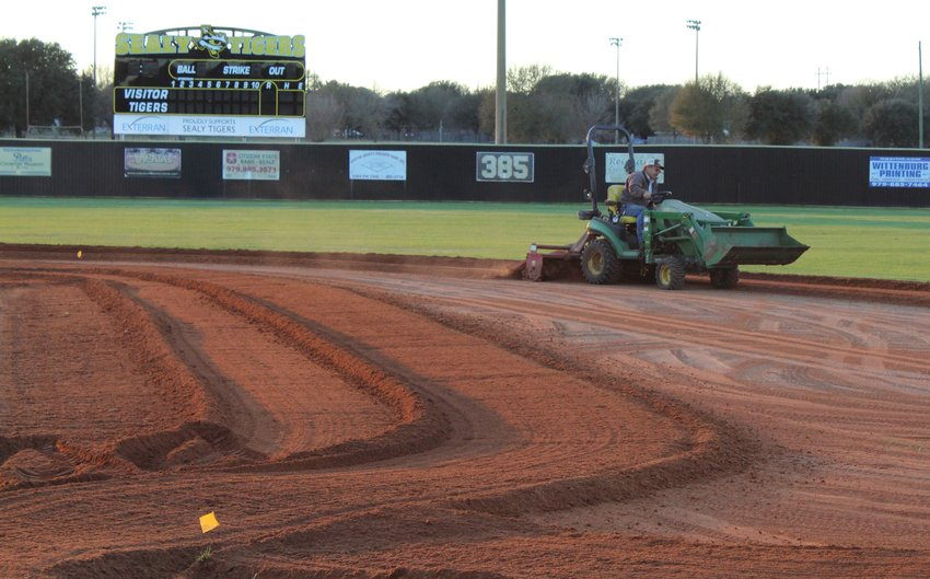 """Sealy ISD Transportation Director Randall Krchnak took out the tractor at the beginning of January and tore up the infield at Aubrey """"Mutt"""" Stuessel Stadium ahead of the baseball season's eventual commencement. The entire field will be ready for the Tigers' regular-season home opener on March 2 against the rival Bellville Brahmas."""