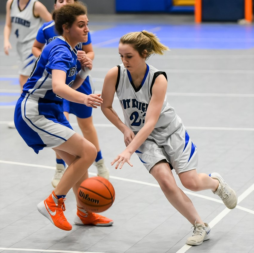 Sophomore Haley Guzman helped the Faith Academy Lady Knights complete the comeback on Robert Beren Academy last Thursday evening, winning 27-26 for their first win in district play to that point.