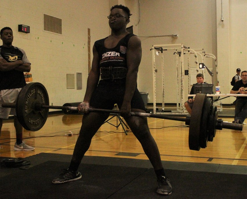 Alvin Nunn started his 2020 season off on a positive note, registering first place in the 220-pound weight class at the season-opening meet in Weimar last Thursday. Pictured his Nunn deadlifting at a regular season meet at Sealy High School last season.