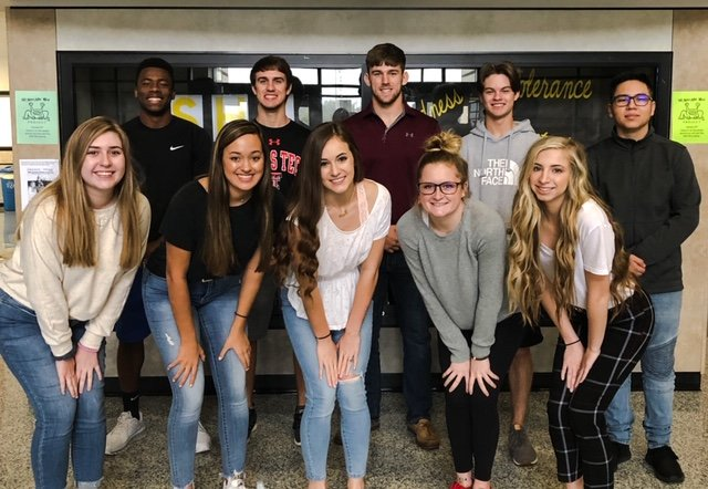 Announced as Prom Court representatives are (front row); Madeline Goad, Averi Kulhanek, Raegan Newsome, Zoee Jeffrey and Sloan Strickland. In the back row, in the running for Prom King are; Matthew Lord, John Owen, Hunter Clark, Harry Main and Ivan Melendez.