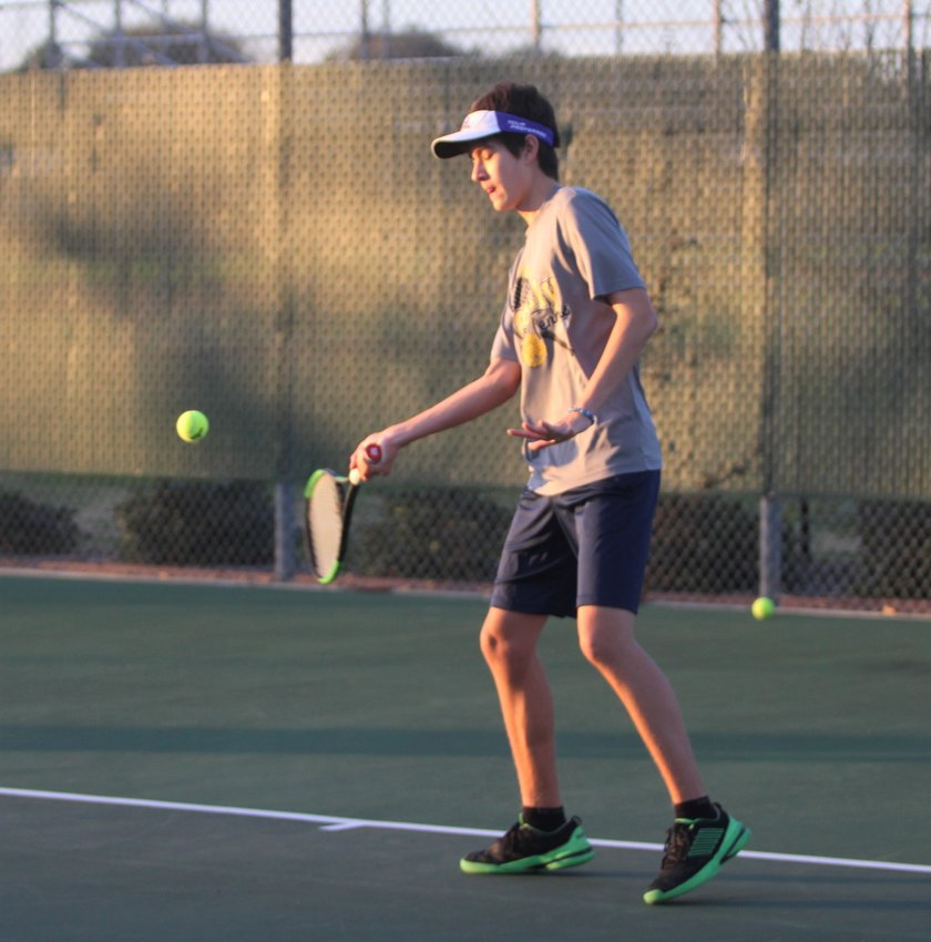 Eric Wilson began his season on a high note, taking first from the consolation bracket in the Bastrop ISD Winter Cup last Friday. Pictured is Wilson at the season's first practice at the courts by Sealy Junior High School on Jan. 6.