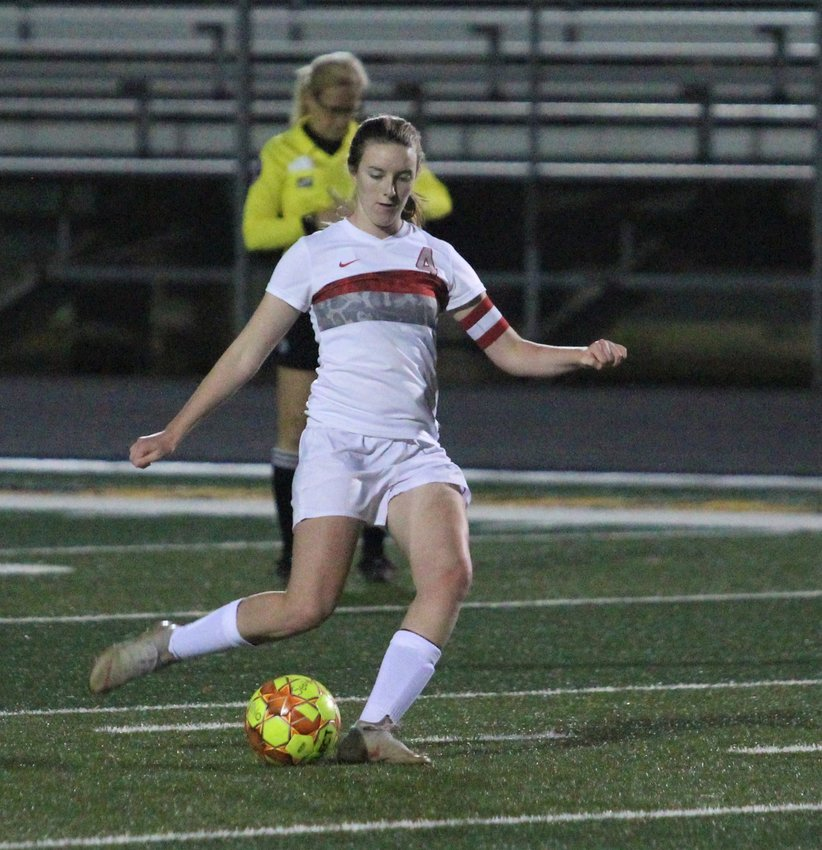 Bellville senior Allie Barnett collected four goals in a district-opening win over Hempstead last week and became the program's leading scorer, surpassing 150 career goals. Pictured is a free-kick opportunity as part of a five-goal effort in a non-district match against Sealy at T.J. Mills Stadium on Jan. 7.