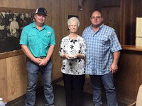 The Austin County Fair Association donated $1,000 to the Austin County Unit of the American Cancer Society. Pictured from the left are Matt Jackson, Vernice Luhn, and Robert Winkelmann.