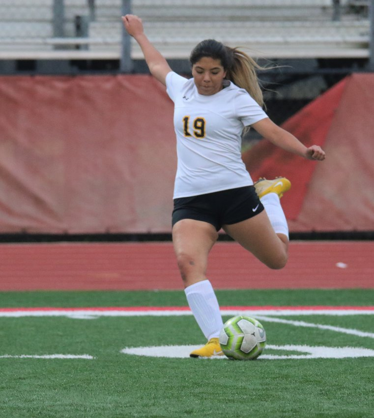 Daniela Acosta supplied half of the goals in Sealy's district-opening win over Rice last Monday. Pictured is Acosta lining up a strike in the Lady Tigers' second district win over Stafford, 3-0, at Traylor Stadium in Rosenburg last Friday afternoon.
