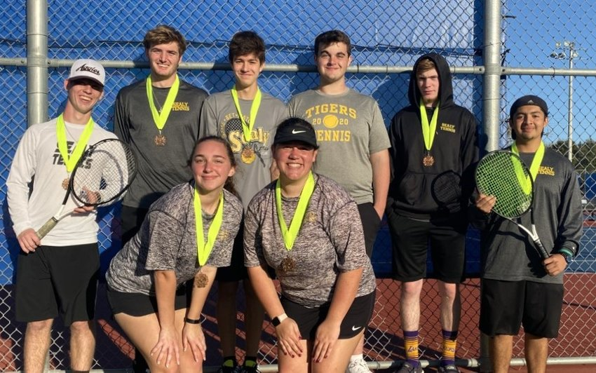 Standing in back, from left, are Jonah DeLozier, J.T. Rassette, Eric Wilson, Brendon Beckendorff, Austin Keeton and Carlos Godoy. In front are Rebecca Kins and Macey Feland.