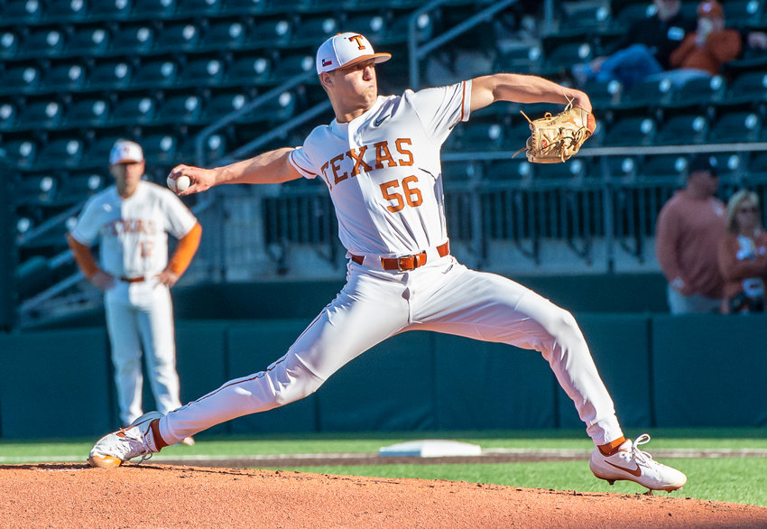 Justin Eckhardt, Sealy High School's class of 2018, pitched two scoreless innings at the University of Texas' alumni game on Feb. 1 at UFCU Disch-Falk Field in the first preseason action of the year. The Longhorns' season gets underway for real this weekend on the road against the Rice Owls and former Sealy teammate Garret Zaskoda.