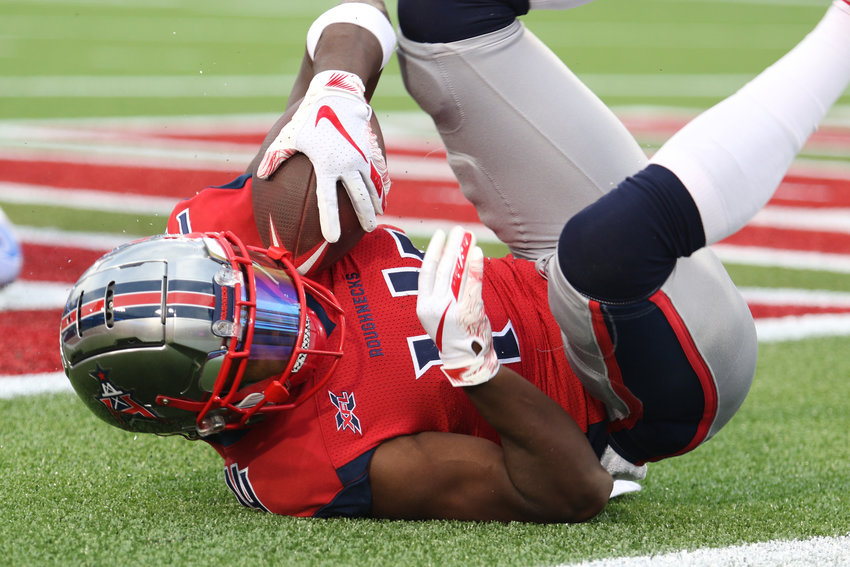 Houston Roughnecks receiver Cam Phillips makes a touchdown catch during Sunday's XFL game against the St. Louis BattleHawks. The Roughnecks won 28-24 at TDECU Stadium to go 2-0 on the season.
