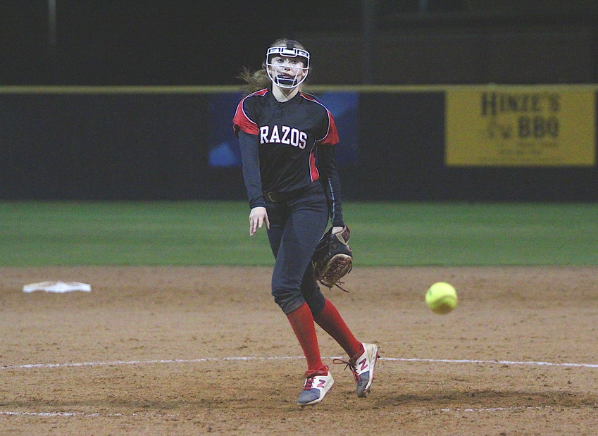 Junior Maddie Kneip toed the rubber in the latter stages of Brazos' final scrimmage against the Lady Tigers at Sealy High School last Friday night.