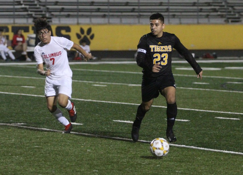 Senior captain George Regalado could be seen on nearly every inch of Mark A. Chapman Field in Sealy's 1-0 win over Columbus Monday evening. He helps run the defense from the midfield position as well as factors into the offense by taking the ball up and facilitating as a forward to put additional pressure on opponents.