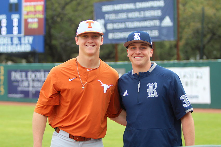 Former Sealy High School standouts Justin Eckhardt (left) and Garret Zaskoda (right) now find themselves on opposite sides of an in-state rivalry between the universities of Texas and Rice. The baseball teams met for a three-game series last weekend at Reckling Park in Houston to open their respective seasons.