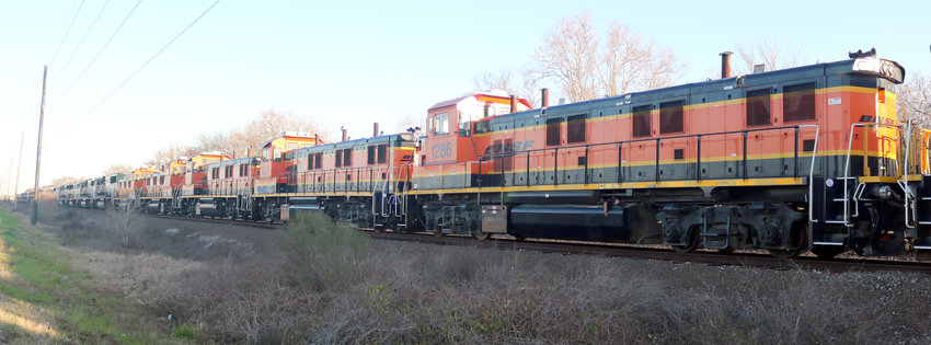 A line of about 50 Burlington Northern and Santa Fe Railroad engines have been parked on the tracks along Highway 36 between Sealy and Wallis for several weeks. Last week several of the engines were moved out. Several attempts to contact the railroad to find out about the engines went unanswered.