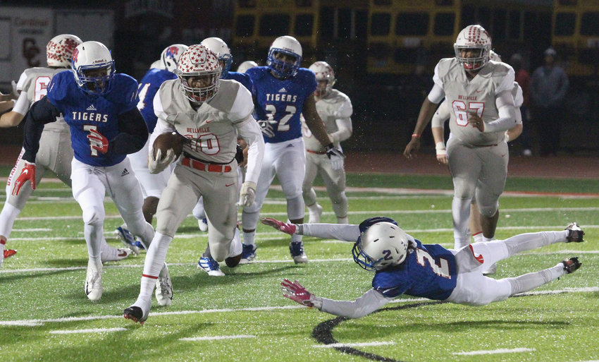 Richard Reese scored 20 touchdowns for the Bellville Brahmas in his sophomore campaign, helping him earn second-team all-state honors from the Texas Sportswriters Association. Pictured is one his 20 carries in the bi-district round of the playoffs against the Wharton Tigers at Columbus ISD Stadium where he accounted for 257 yards and three scores on the ground.