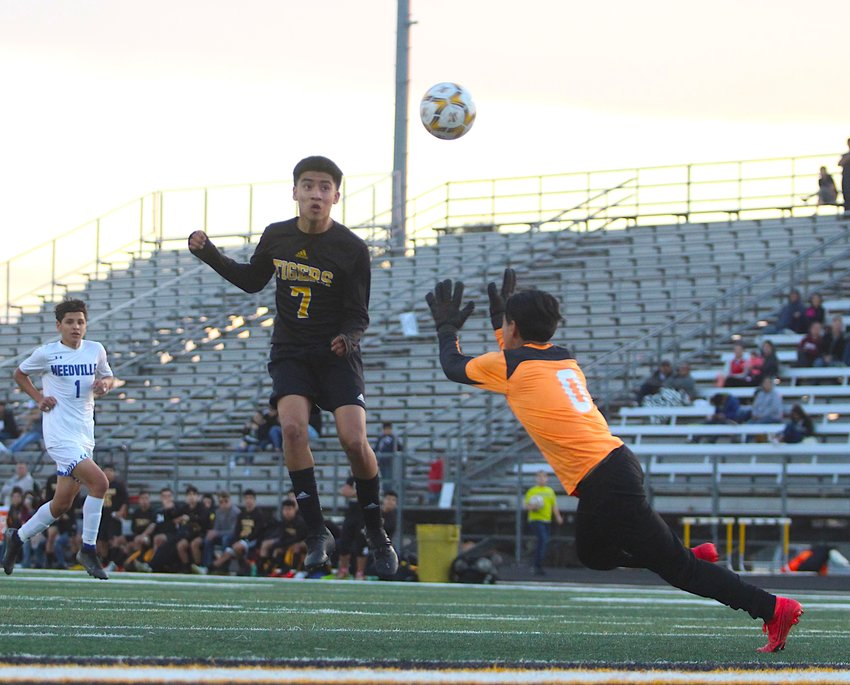 Erick Balderas provided this header goal with less than 15 minutes to play to help ice a 3-1 win over Needville last Friday night on Mark A. Chapman Field at T.J. Mills Stadium.