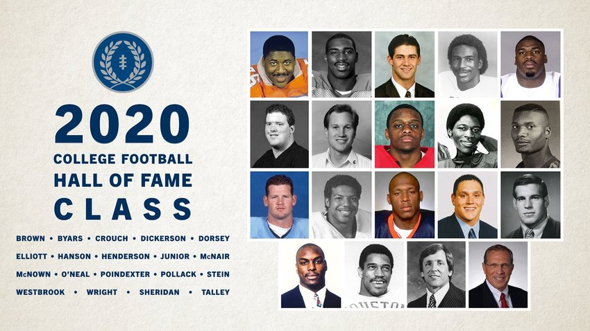 Sealy High School and Southern Methodist University alum Eric Dickerson (top row, fourth from left) was chosen as one of 19 members of the 2020 College Football Hall of Fame Class as announced Wednesday morning.
