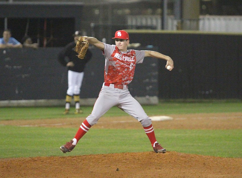 Lane Hayslip provided three strikeouts over two innings of work in Bellville's 13-3 win over Madisonville last Friday afternoon in the La Grange Tournament. Pictured is Hayslip on the mound in Sealy against the Tigers in a non-district matchup on March 2 where the Brahmas emerged victorious, 9-8.
