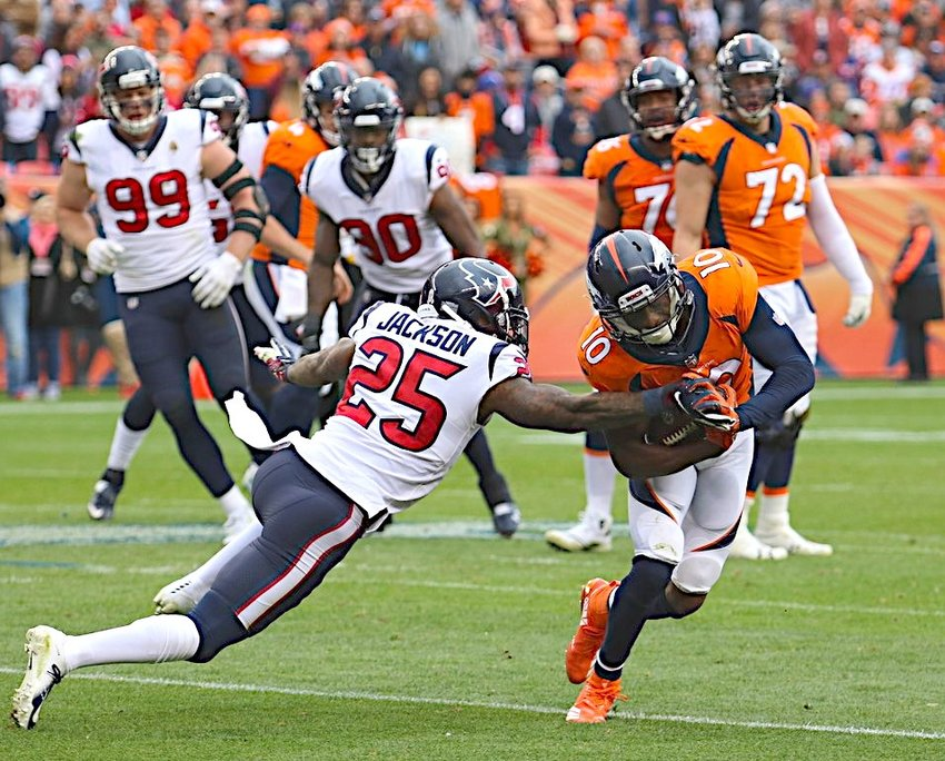 File photo by Joe Southern    Former Denver Broncos receiver Emmanuel Sanders runs with the ball in a regular-season game against the Houston Texans in Denver on Nov. 4, 2018, where the Texans won 19-17. The Bellville High School alum recently signed a two-year, free-agent deal to join the New Orleans Saints' high-powered offense.