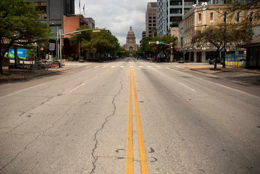 Austin streets are nearly empty during the coronavirus outbreak.
