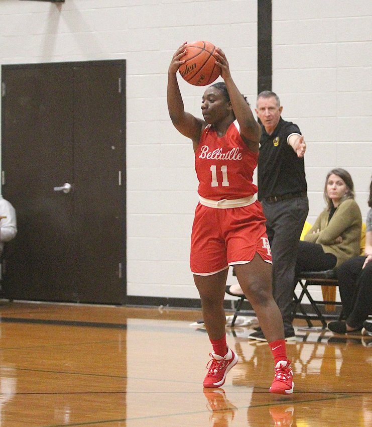 Bellville senior Bryanna Richardson closed her high school basketball career with second-team all-district honors for the Brahmanettes. Pictured is Richardson hauling in a pass during a non-district game against the Sealy Lady Tigers at Sealy Junior High on Nov. 26.