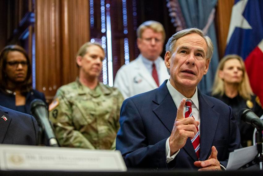 Gov. Greg Abbott declares a statewide emergency amid new cases of COVID-19 in the state on March 13, 2020, at the state capitol.