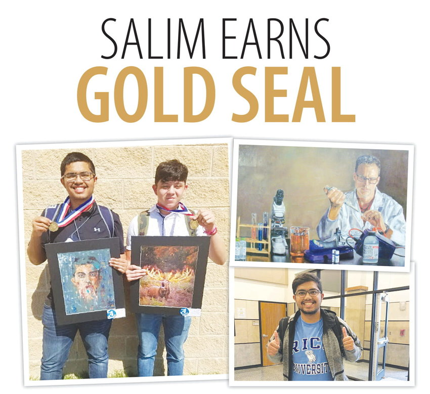 Left: Although Khondker Salim (left) qualified for the last three state Visual Arts Scholastic Event (VASE) competitions, it wasn't until his final one this year where he earned the top prize of Gold Seal, given to the top 150 artists in Texas. Pictured is Salim with Jason Oviedo after the pair earned gold medals at last year's state VASE competition.  Top right: Sealy High School senior Khondker Salim's artwork titled 'Synergy,' depicts his biology teacher Matthew DuPont and represents two of Salim's passions coming together in science and art. The piece was recently honored with the Gold Seal at the state Visual Arts Scholastic Event (VASE), reserved for the top 150 pieces of work in Texas.  Bottom right:  Khondker  Salim,  a  senior at  Sealy  High  School,  said his plans will be to attend  Rice  University after graduation to major in biochemistry although he plans to continue pursuing art if only as a hobby. Pictured is Salim showing his colors after learning of his acceptance in December of 2019.