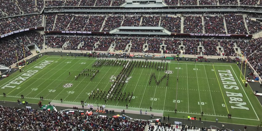 The Austin County A&M Club awarded 16 students with scholarships for the 2019-2020 school year, honoring nine students from Sealy and seven from Bellville. Pictured is the Fightin' Texas Aggie Band at the end of their performance during the football game against the University of Mississippi on Nov. 10, 2018.