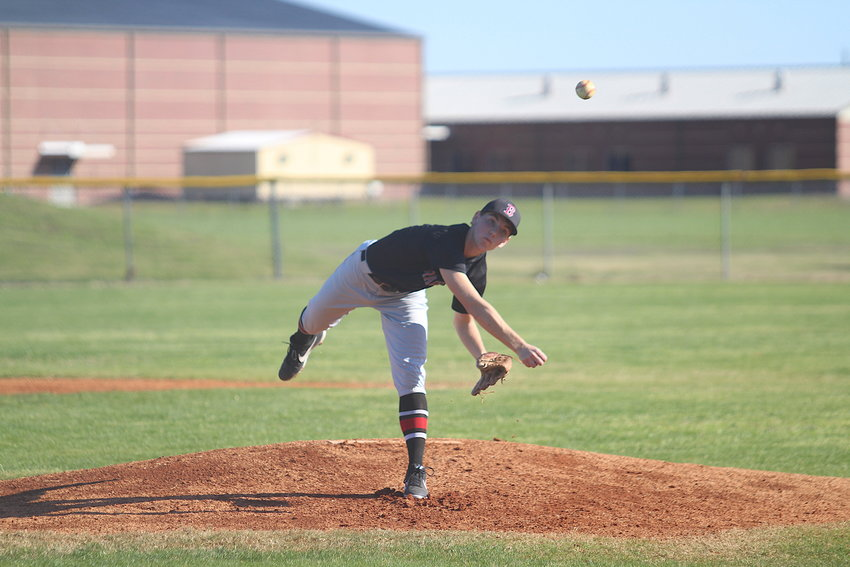 Kolton Marek was one of three Brazos Cougars that earned a spot on the Texas Army National Guard and Texas High School Coaches Association Academic All-State list. He made the first team and had a teammate on the second team. Pictured is Marek throwing a pitch in a non-district game against the Royal Falcons at Brazos High School on Feb. 28. 2020.