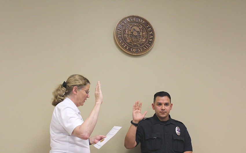 Nicholas Mendiola was sworn in as the newest member of the Sealy Police Department Monday afternoon at the station by Sealy Mayor Janice Whitehead.