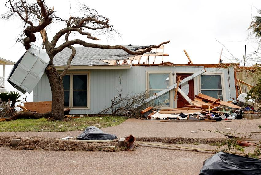 A home near the Gulf Coast was damaged by Hurricane Harvey in August 2017.