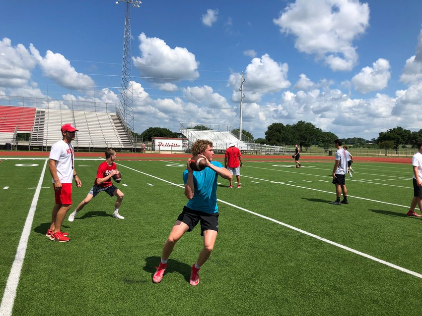 60 male athletes showed up for Bellville's first day of limited, socially distant strength and conditioning and sport-specific activities last Monday, June 8.