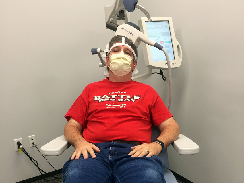 Sealy News Editor Joe Southern undergoes a transcranial magnetic stimulation treatment at Greenbrook TMS in Richmond.