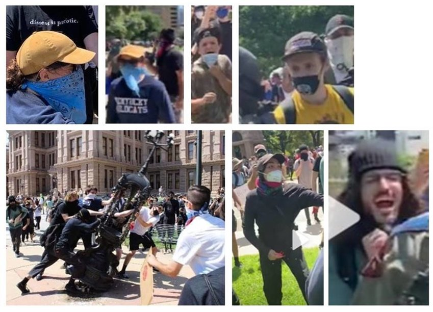 The Texas Department of Public Safety is looking for any information about the individuals pictured who are wanted for damage caused to the State Capitol during a riot on May 30.