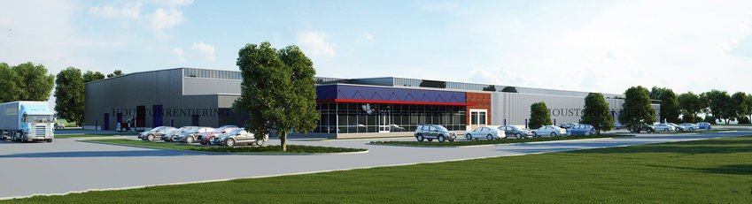This image shows what the new, 145,000-square-foot facility will look like when Hendrix Industries, Inc., a manufacturer of quartz countertops, builds it at the corner of FM 3538 and FM 3013.