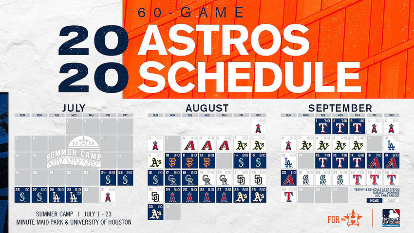 The Houston Astros 2020 60-game schedule.