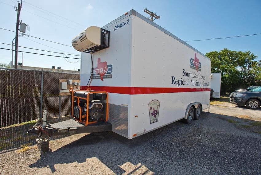 A morgue trailer, currently not in use, at the Nueces County Medical Examiner's office in Corpus Christi on Friday. As some morgues fill up due to Texans dying with coronavirus, officials are seeking ways to increase their ability to store the bodies.