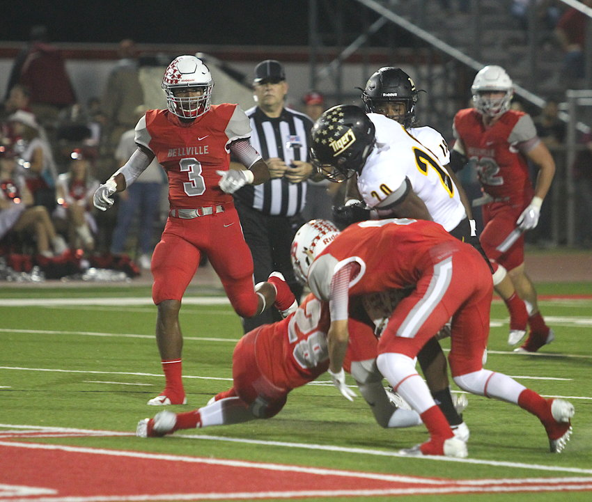 Bellville's Zach Hood (3) played linebacker and kicker for the Brahmas and last year helped Bellville reach the third round of the playoffs for the fourth time in the last five years.