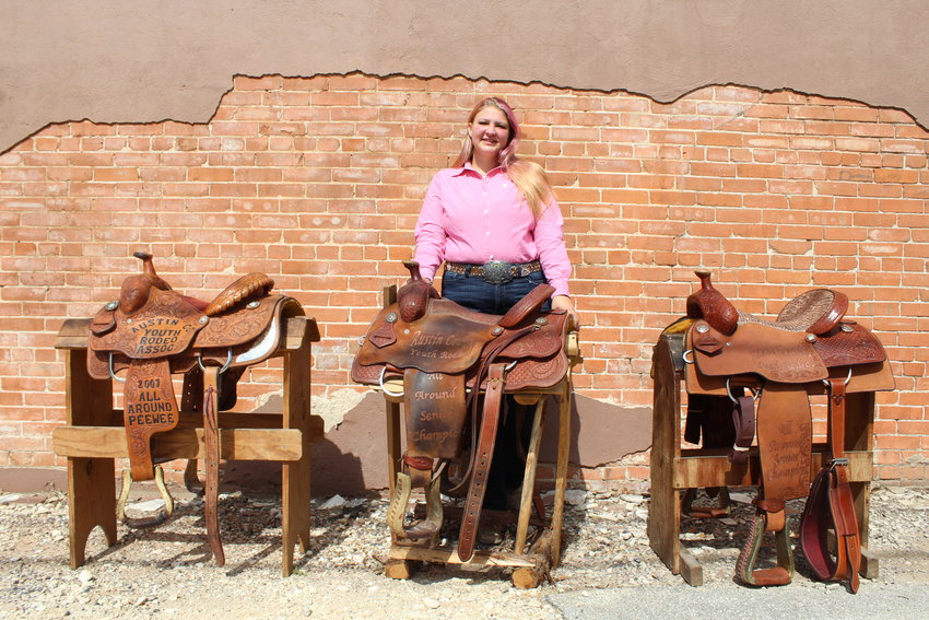 Mandijo Wood won the all-around saddle from the Austin County Youth Rodeo Association in the peewee division in 2007 and twice in the senior division in 2016 and 2020. Since winning her first saddle, Wood has won a total of seven all-around saddles as well as 50 belt buckles.