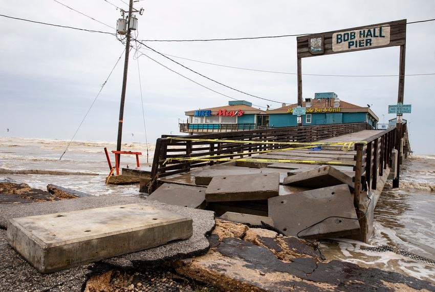 Padre Island's Bob Hall Pier was closed after portions of the structure collapsed from damage due to Hurricane Hanna.