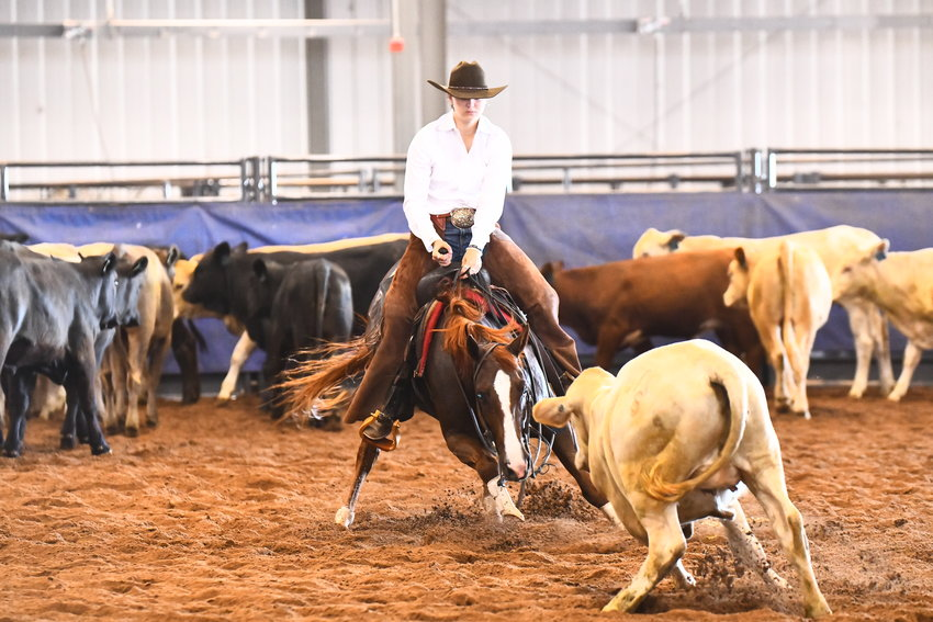 Sealy's Samantha Grace Perko got her second taste of national rodeo competition last week in Guthrie, Okla. and finished 12th overall in the girls cutting event. She was joined by a pair of Austin County representatives in winning the team title for the fifth year in a row.