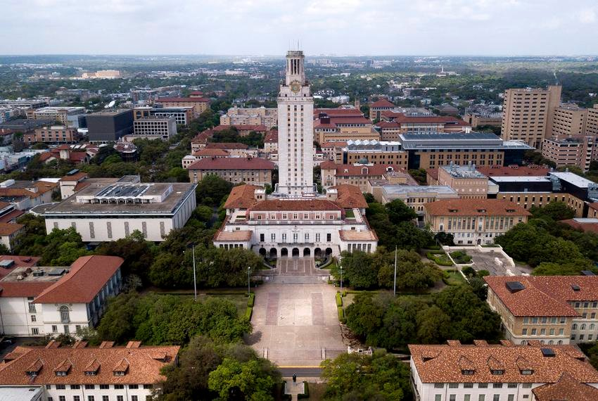 An aerial view of the main tower at the University of Texas at Austin during the coronavirus outbreak on March 23, 2020.