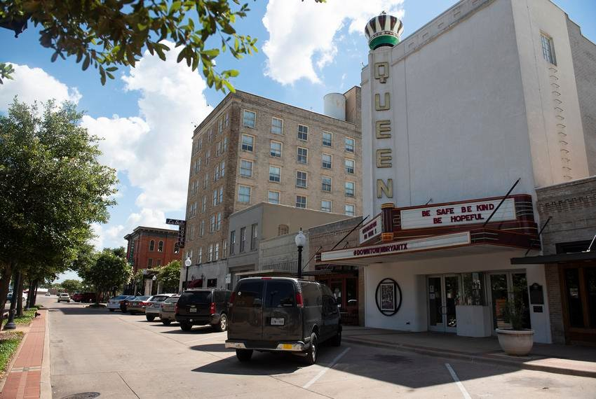The Queen Theatre in Bryan, outside of Texas A&M. Economists and city leaders said canceling football would be devastating to local businesses that rely on the huge influxes of cash from home games.