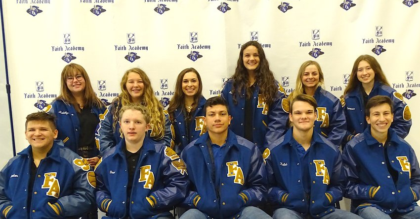 One senior and ten juniors are the latest Faith Academy letter jacket recipients. They have participated in the various FA sports programs, met the requirements and were presented with them on the first day of school last week. Pictured in the back row, from left, are Maddie Krueger, Emily Maddox, Maddie Odom, Addi Kuespert, Jayci Byler and Genesis Mignery. In the front row, from left, are Caden Swierkowski, David McClure, Nathan Figueroa, Kaleb Shepherd and Maury Cano.