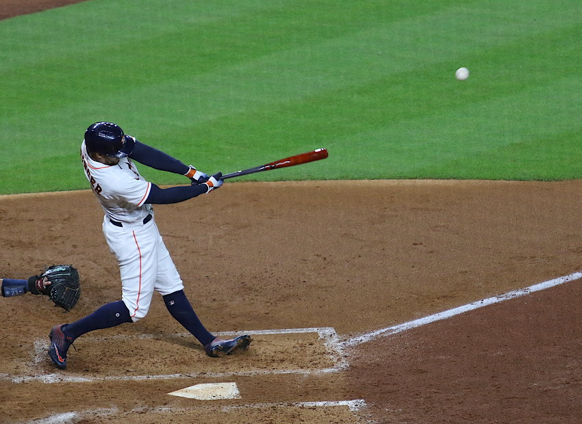 George Springer has been a bright spot in the lineup with a .333 batting average over his last 12 games featuring four home runs and seven RBI. Pictured is a home run swing against the Seattle Mariners in a 7-2 win at Minute Maid Park on July 25.