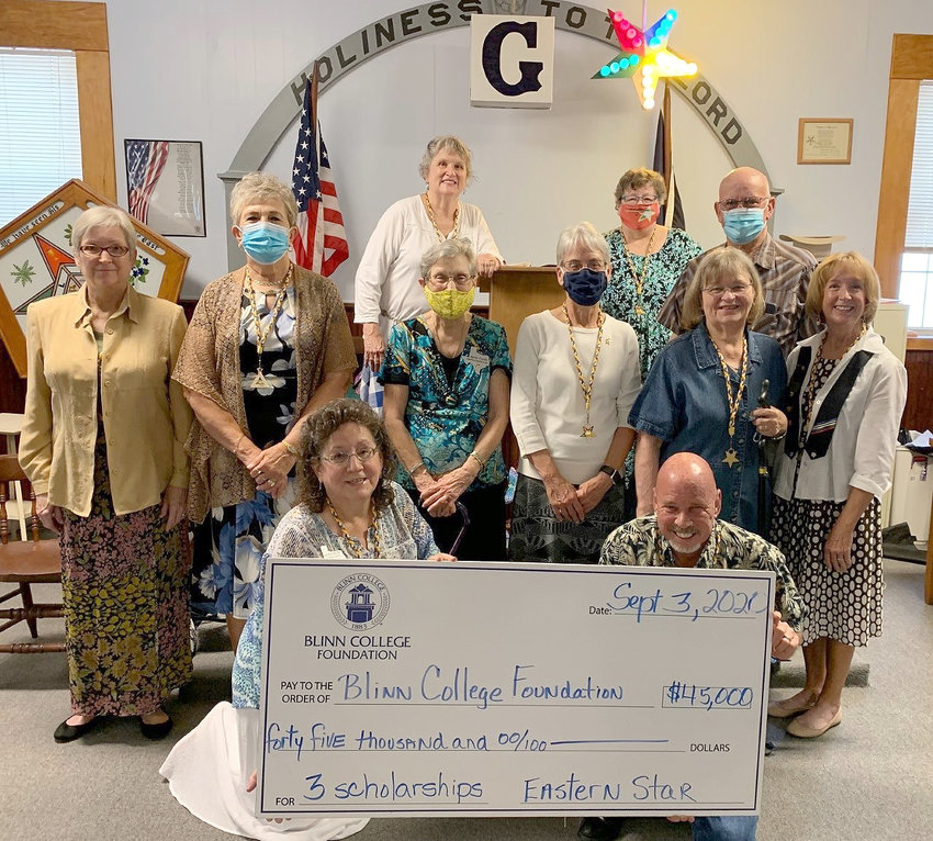 Somerville Chapter No. 245 Order of the Eastern Star has gifted three new endowed scholarships to the Blinn College Foundation. Pictured are (front, from left) Worthy Matron Nickie Bilski, and Worthy Patron Tommy Cagle; (middle, from left) Mary Cunningham, Bea Landolt, Martha Trimble, Karen Law, Gayla Townsend, and Angelia Beene; and (back, from left) Sandy Johnson, Melynda Giesenschlag, and Fred Orum.