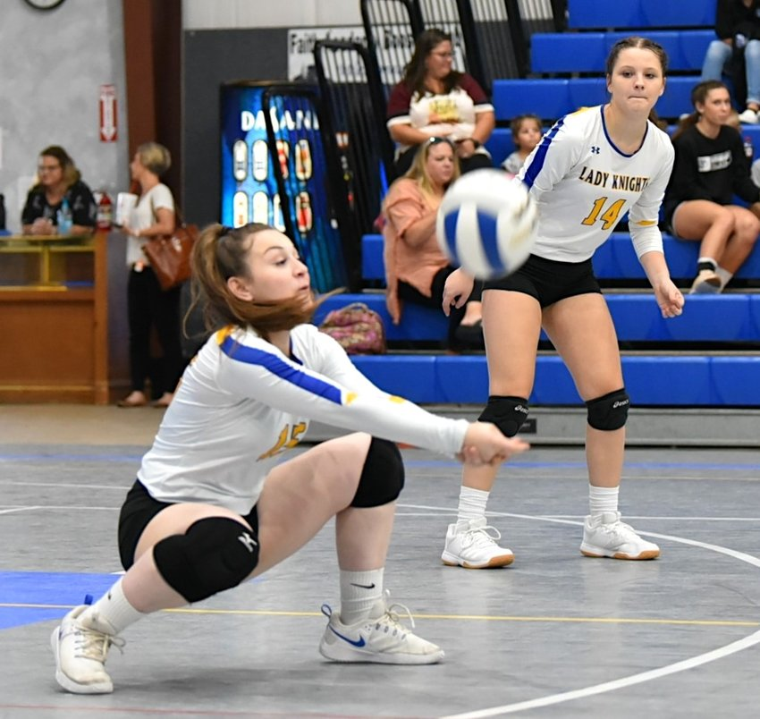 The Faith Academy Lady Knights dropped their matches last week but will look to rebound when they host a tournament at Beath Keaton Gym this weekend where Josey Potter is pictured making a play on a ball in a non-district match against KOR Education School last Thursday at Faith Academy.
