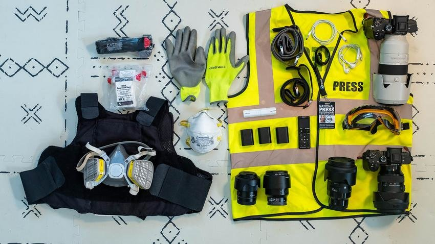 Photojournalist Jordan Vonderhaar has used personal protective equipment and other gear while covering protests and the COVID-19 pandemic.